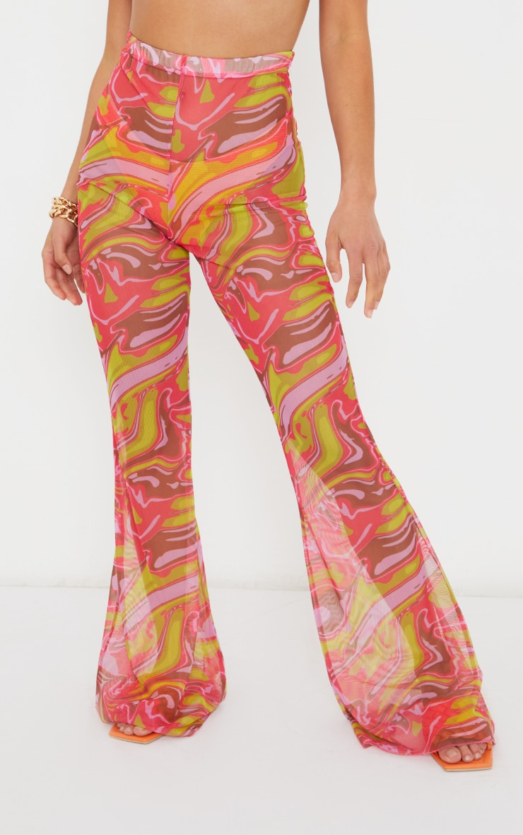 Petite Pink  Abstract Print Mesh High Waisted Flares 2