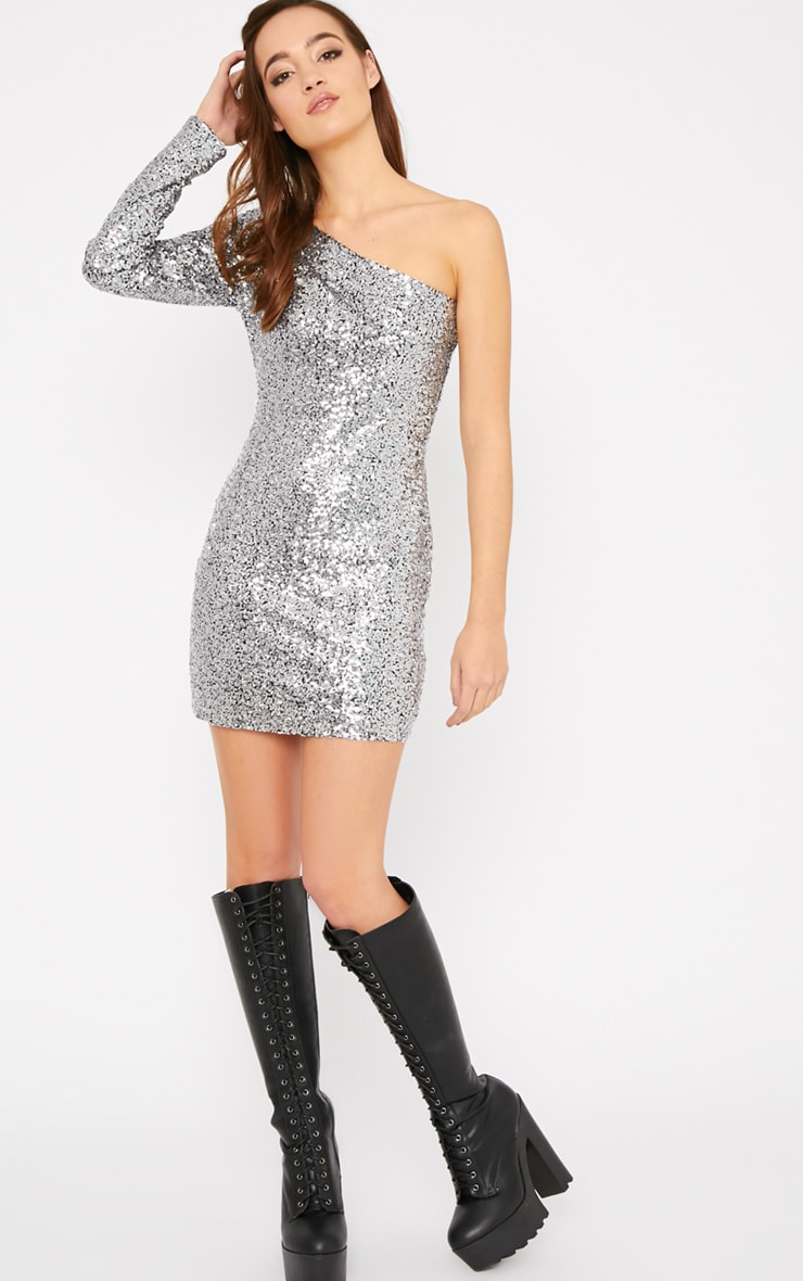 Kisha Silver One Shoulder Sequin Mini Dress 3