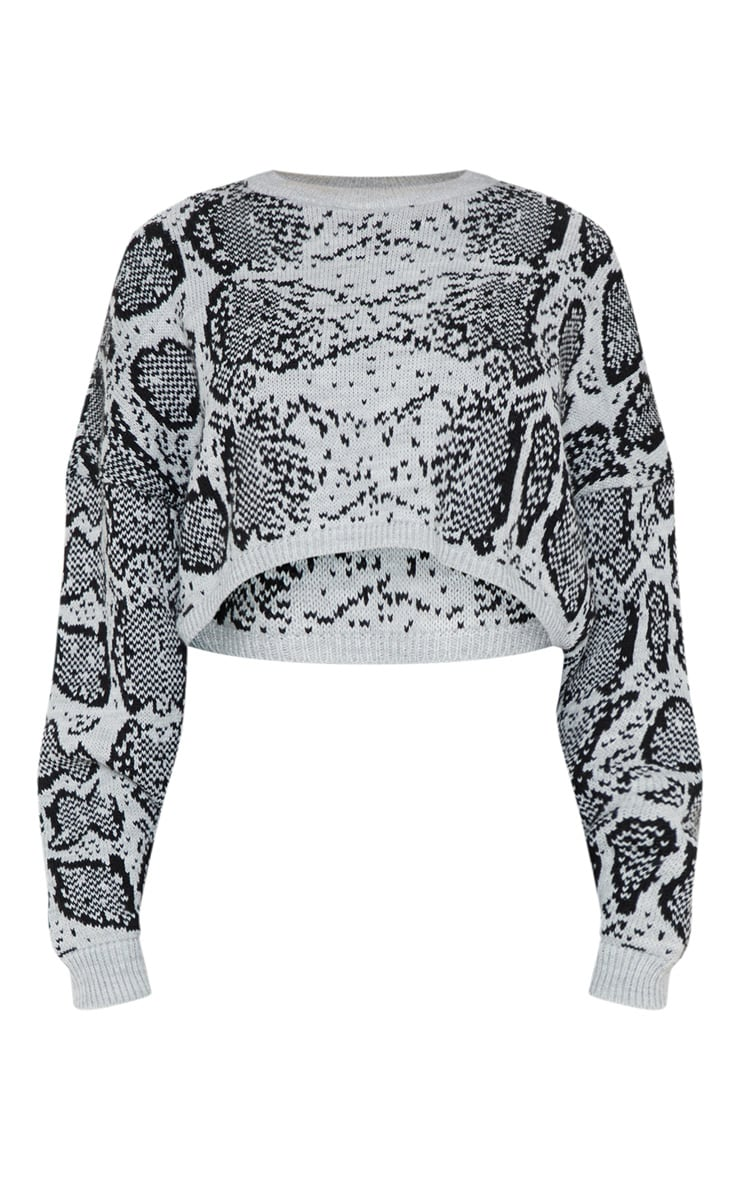 Grey Snake Print Knitted Cropped Jumper  3