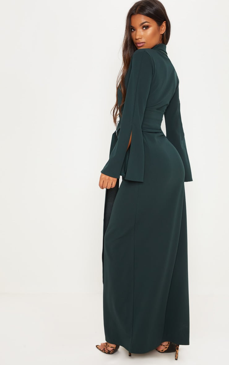 a9cf1828c64 Emerald Green Ring Detail Maxi Blazer Dress image 1