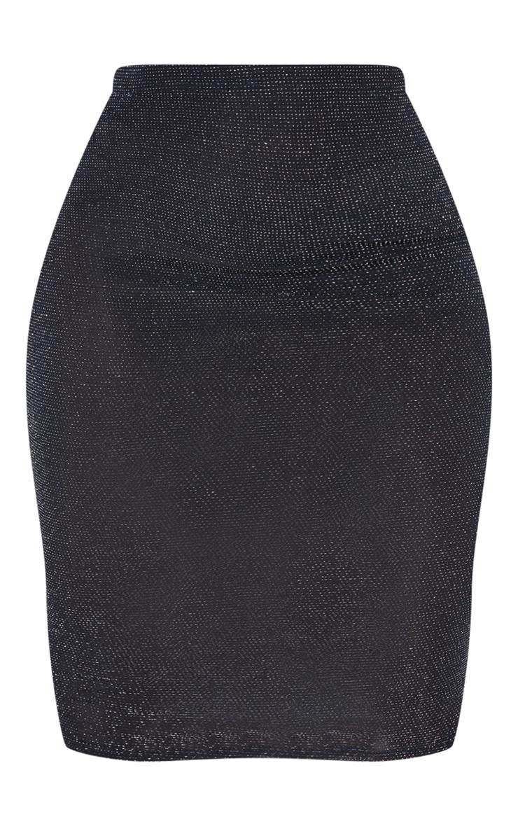 Black Textured Glitter Jersey Midi Skirt 3