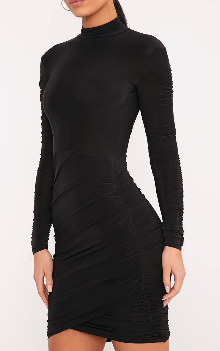 Sinitah Black Long Sleeve Ruched Bodycon Dress 4