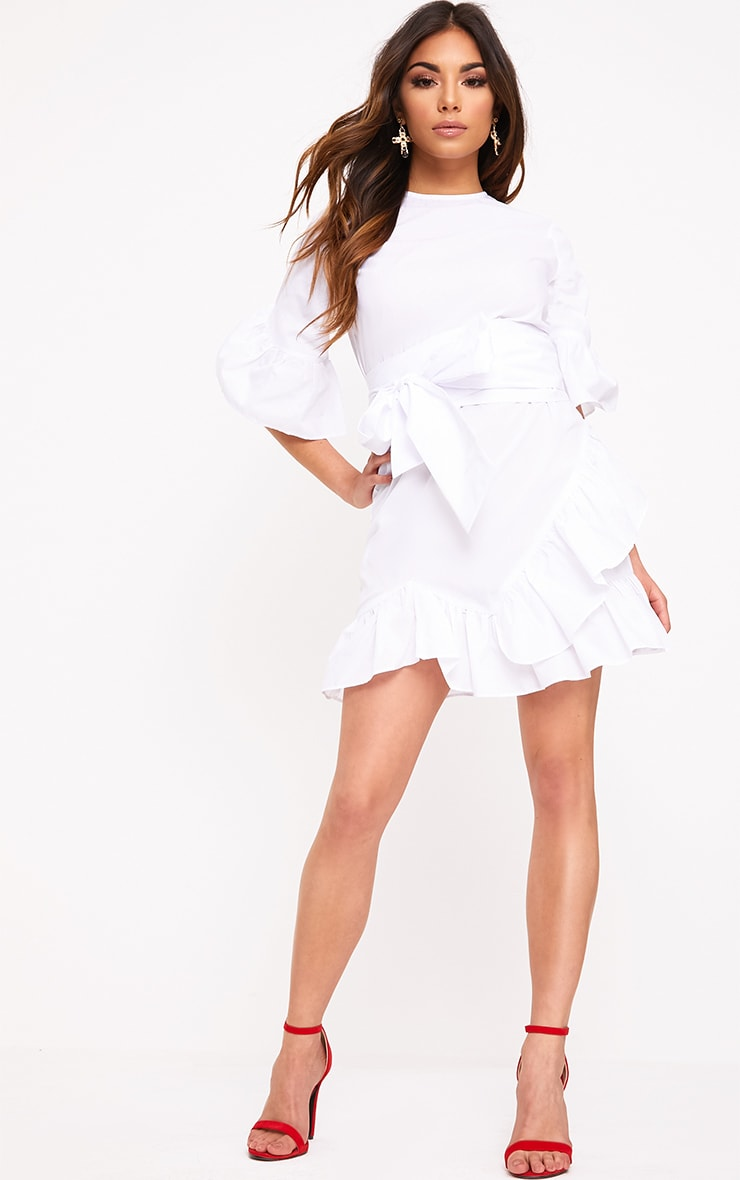 Aaliyah White Frill Detail Mini Dress 4