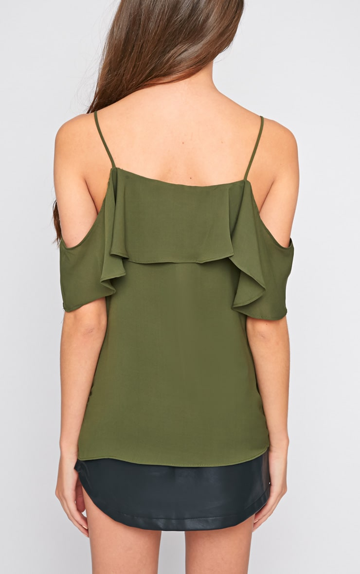 Nyla Khaki Cut Out Frill Cami  2