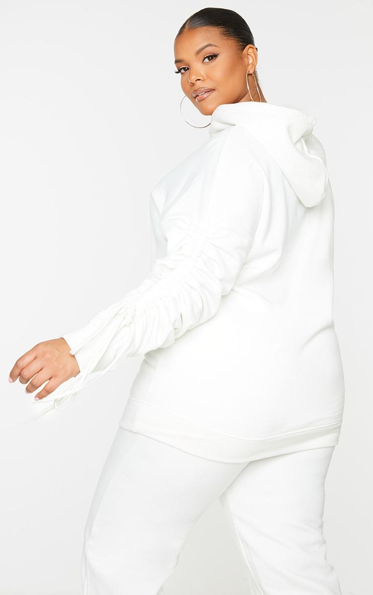 Plus Cream Ruched Sleeve Hoodie 2