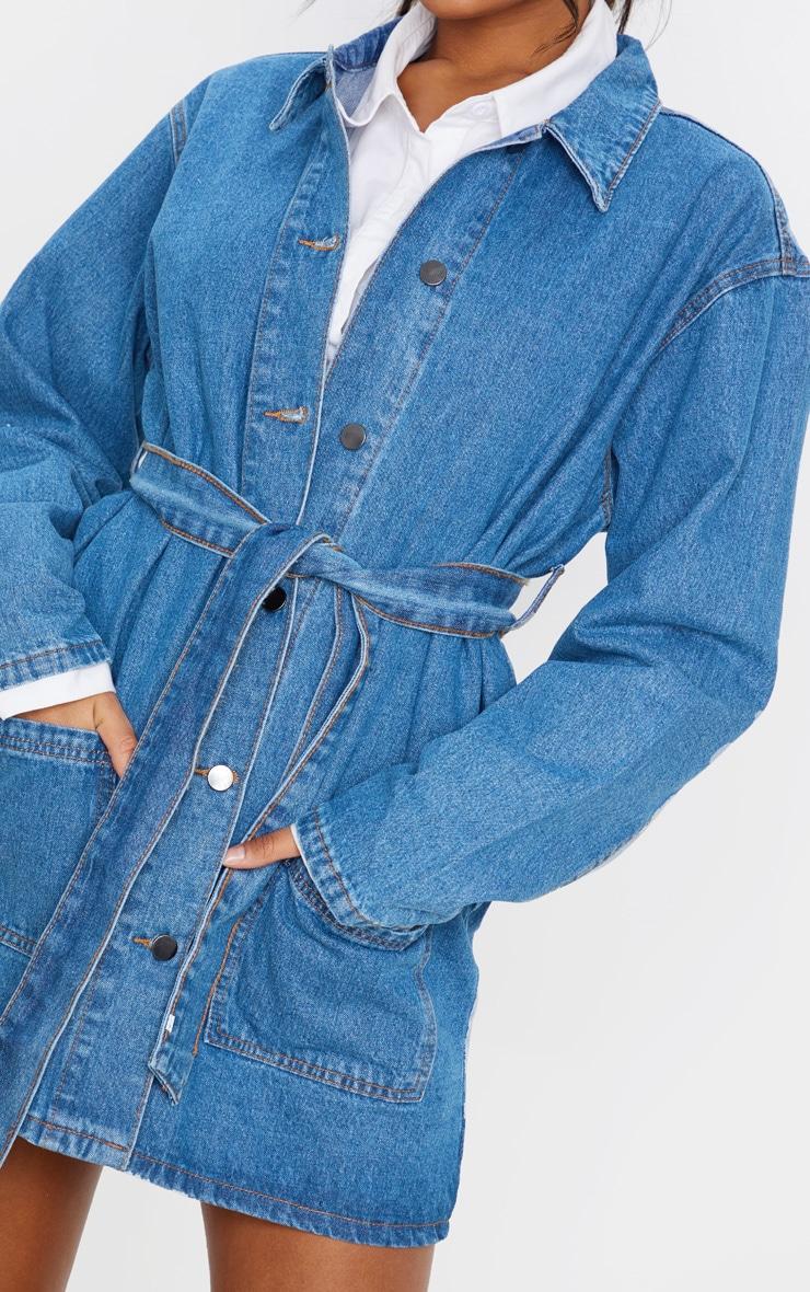 Mid Wash Tie Waist Denim Trucker Jacket 5