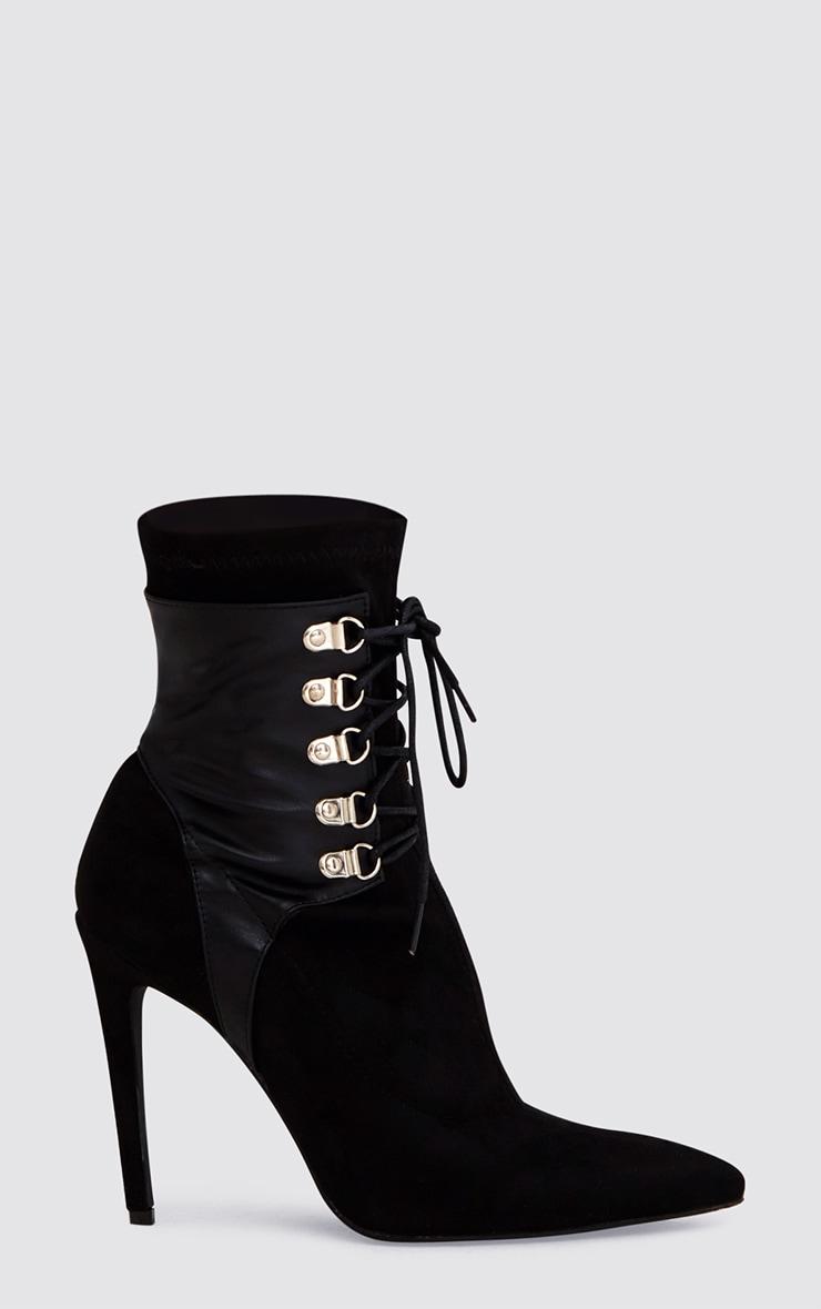 Black Faux Suede  Lace Up Stiletto Ankle Sock Boots 3