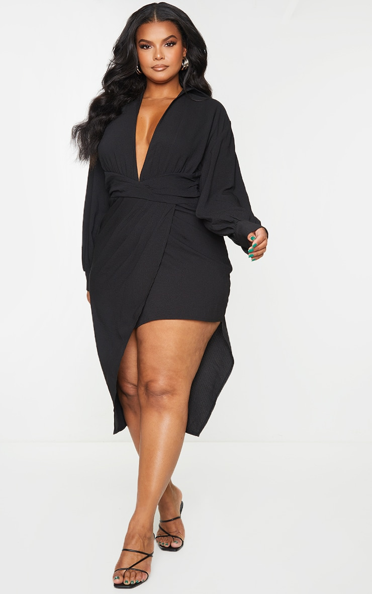 Plus Black Plunge Wrap Textured Dress 3