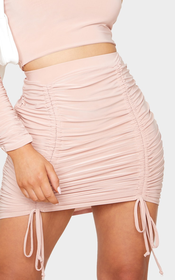 Blush Slinky Ruched Front Double Tie Mini Skirt 5