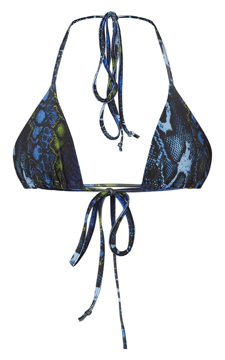 Blue Print Triangle Bikini Top 5