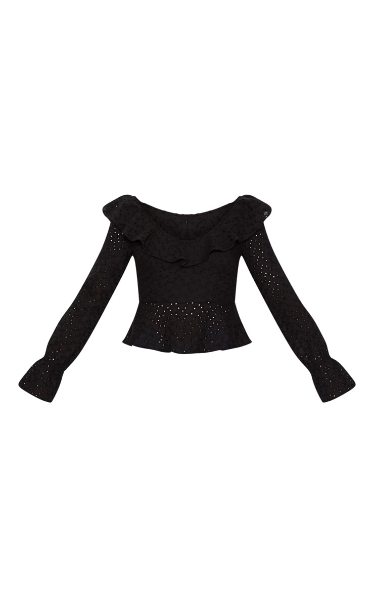 Black Broderie Anglaise Frill Detail Blouse 3
