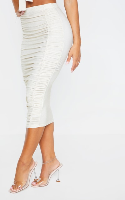 Gold Ruched Front Textured Glitter Midi Skirt