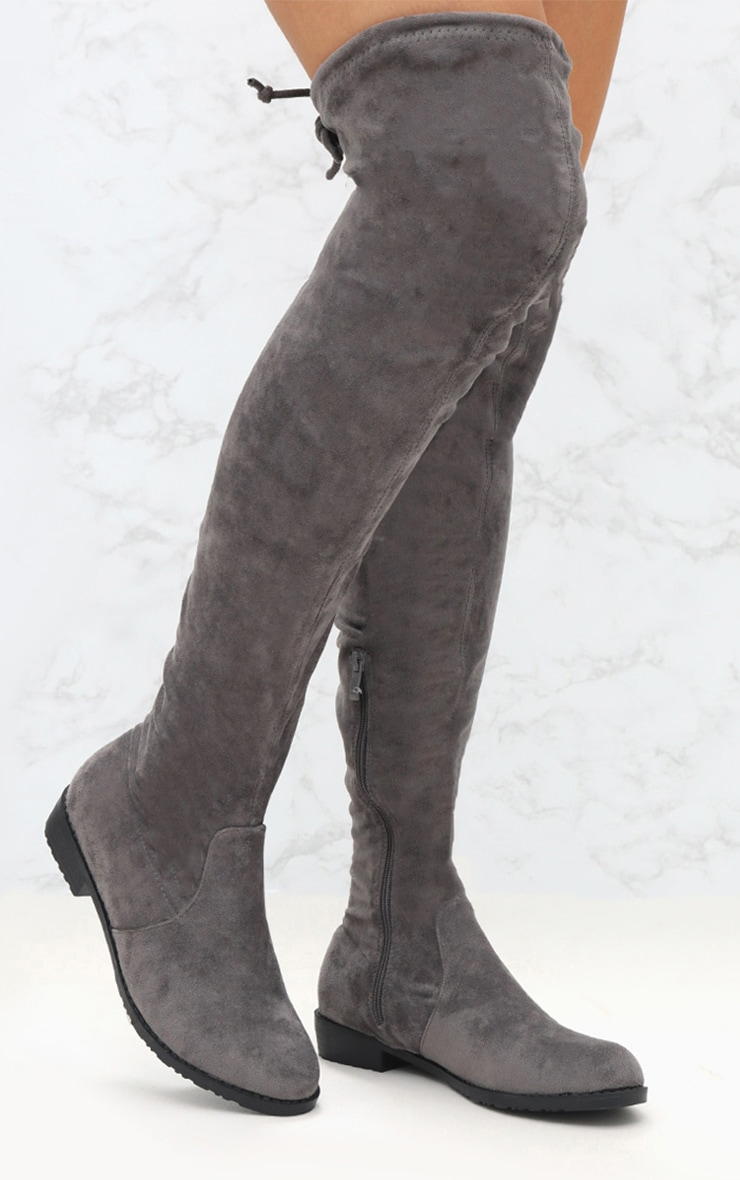 eccc6ef40b8 Grey Suede Flat Thigh High Boot image 1