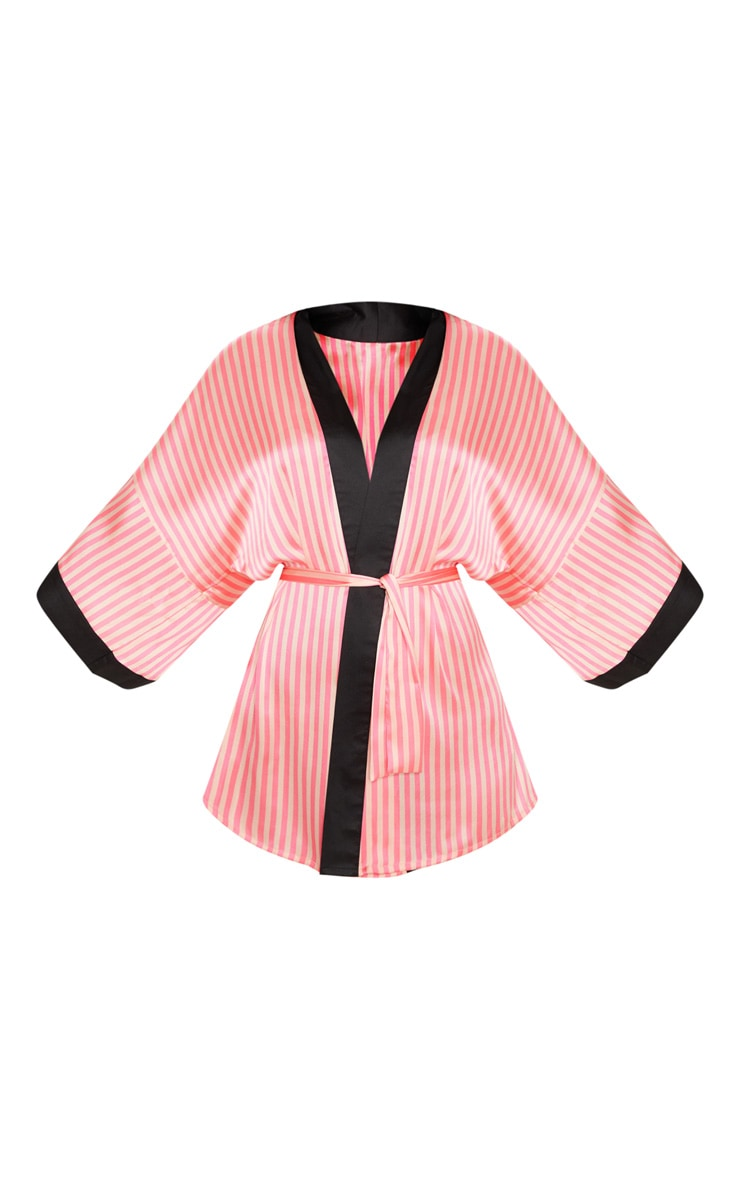 PRETTYLITTLETHING Pink Striped Satin Robe  3