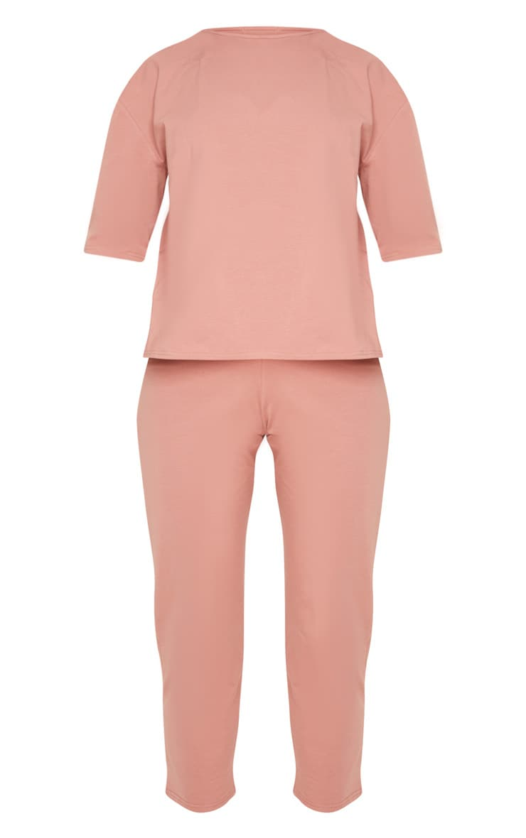 Dusty Rose Jersey Crew Neck Boxy T Shirt & Trouser Set 3