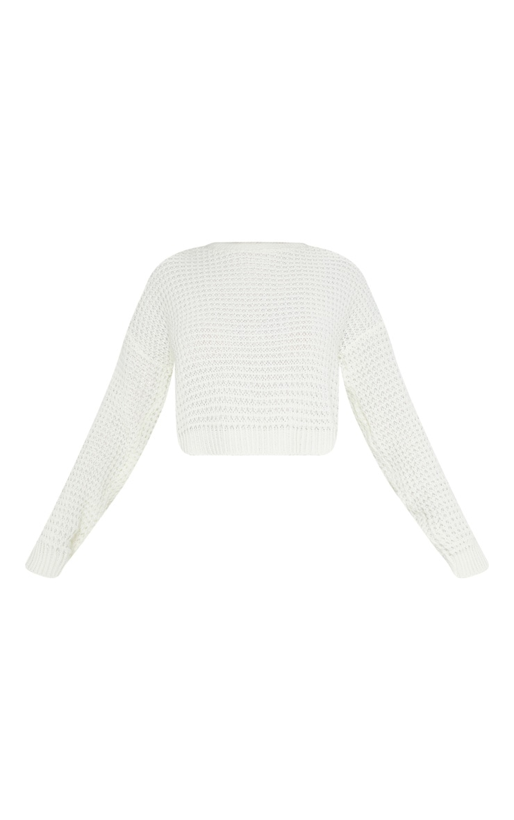 Cream Fisherman Knitted Cropped Jumper 3