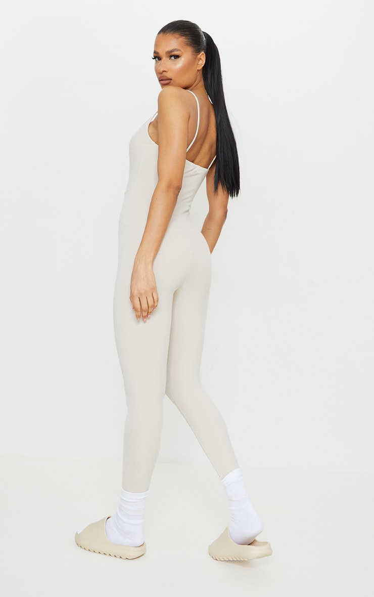 Recycled Beige Rib Strappy Jumpsuit 2