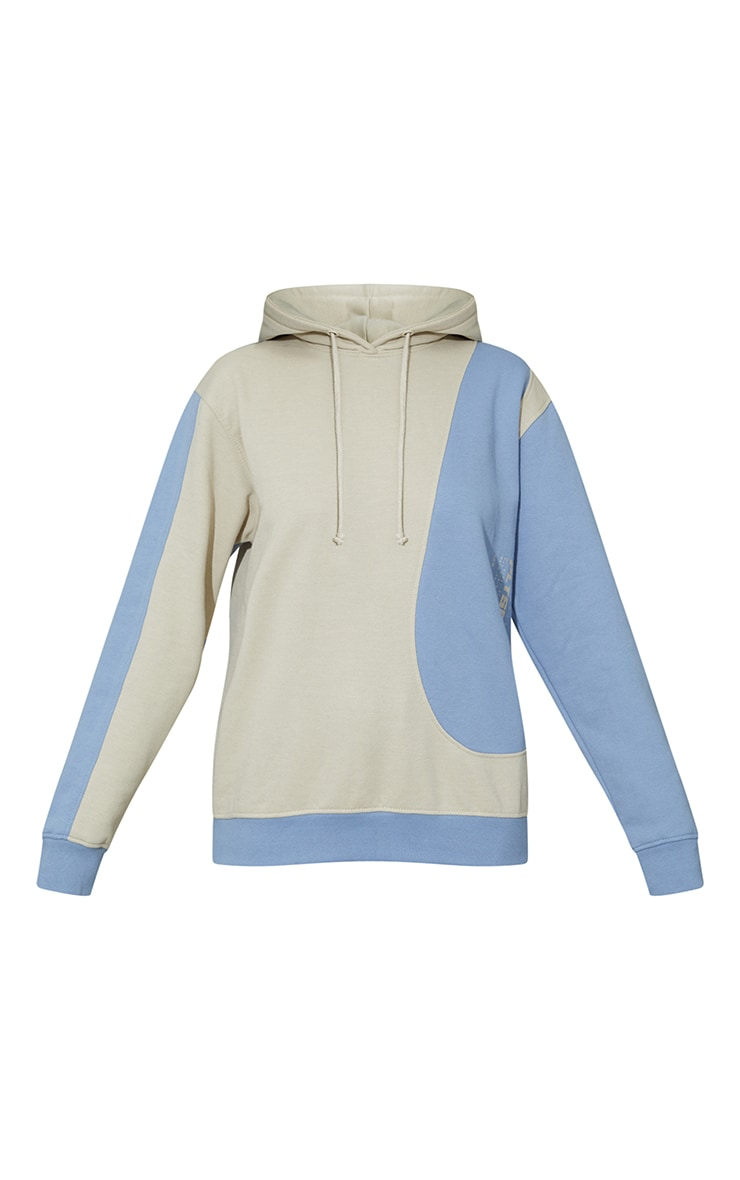 Oatmeal Colour Block Oversized Sports Hoodie 5