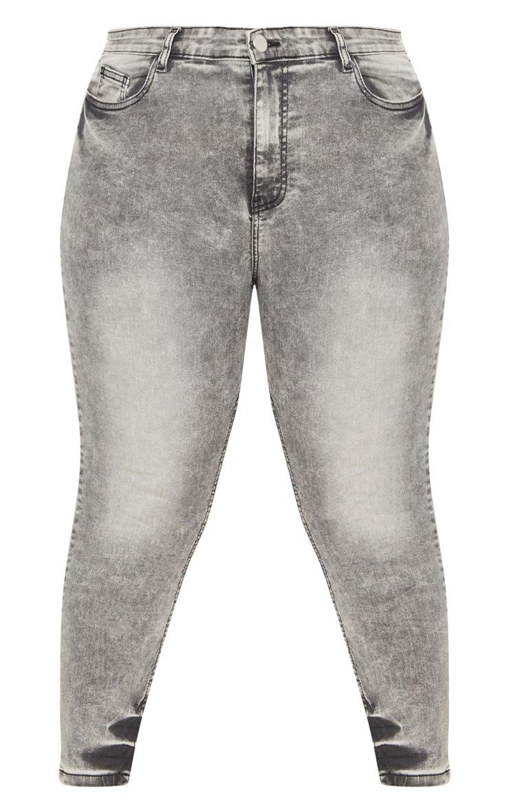 Plus Grey Acid Wash Skinny Jeans 3