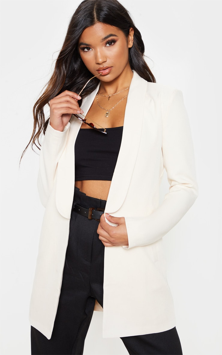 Cream Detail Oversized Woven Blazer 1