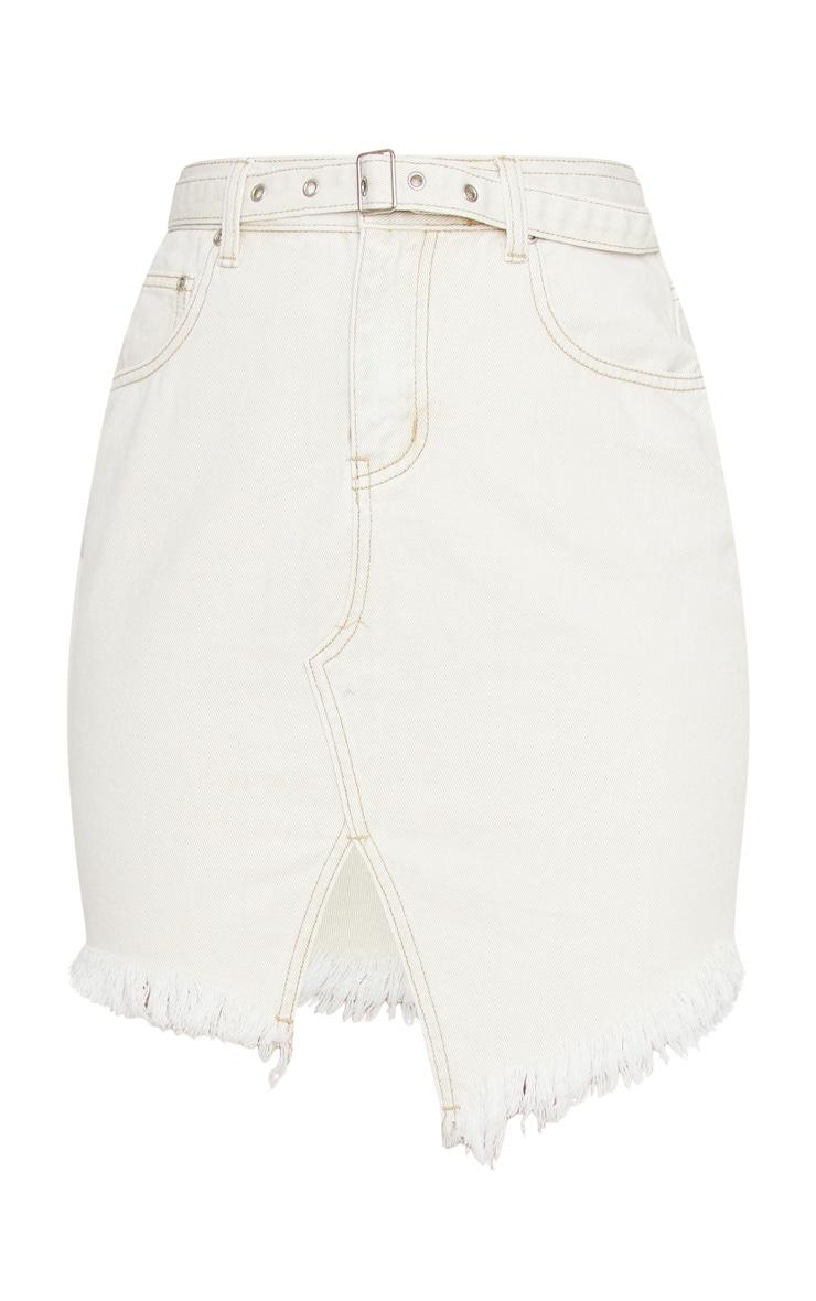 Ecru Cut Out Hem Belted Raw Denim Skirt 6