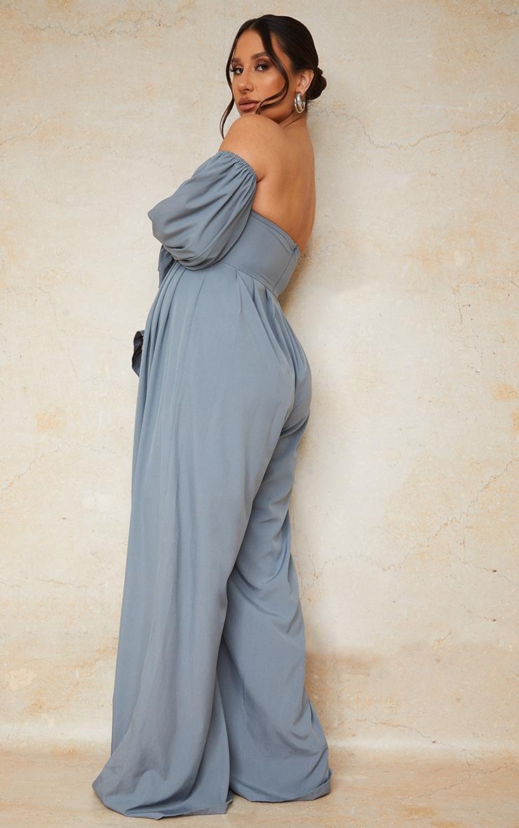 Maternity Blue Corset Detail Bardot Wide Leg Jumpsuit 2