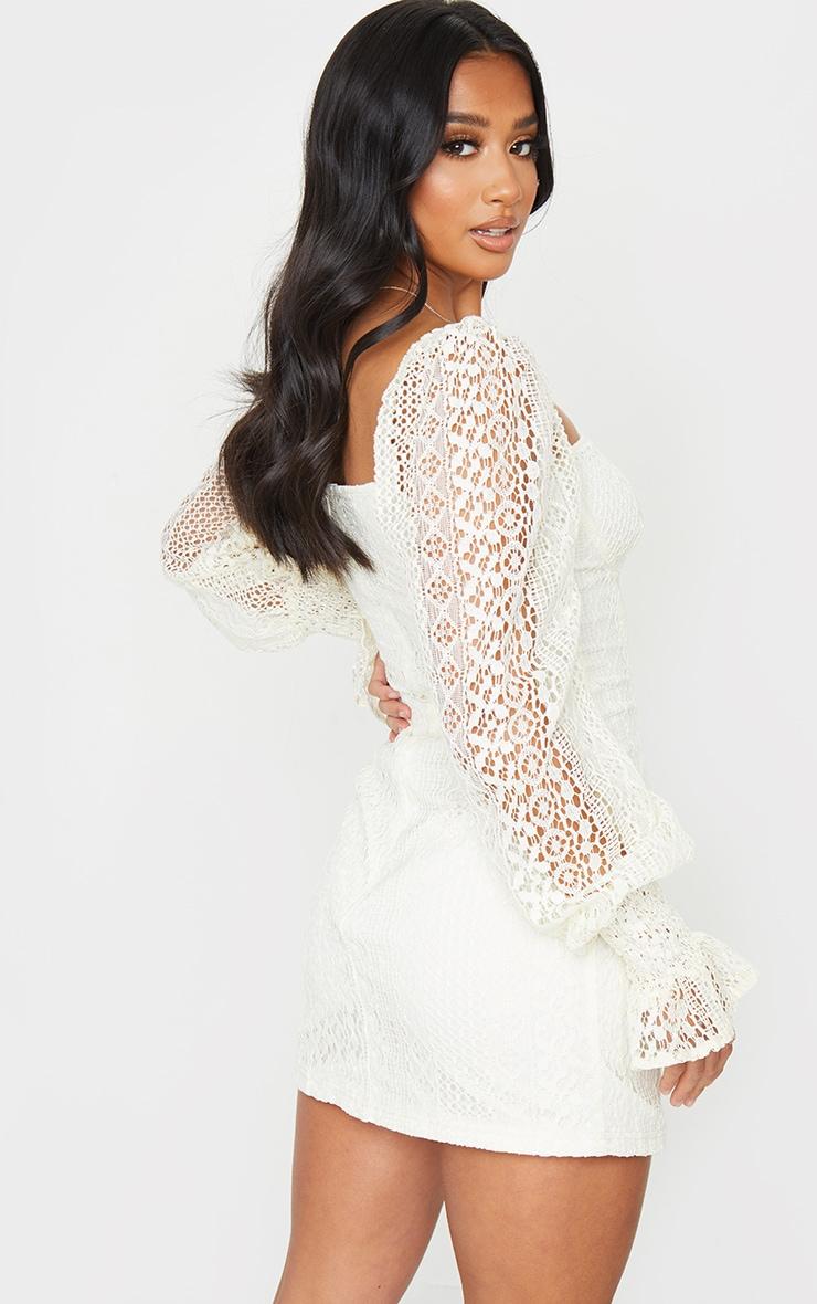 Petite Cream Long Sleeve Lace Swing Dress 2