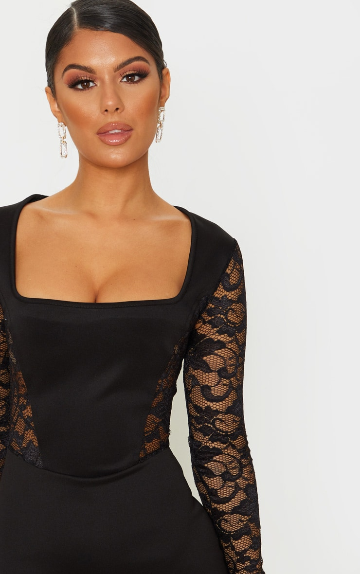 Black Lace Sleeve Insert Square Neck Bodycon Dress 5