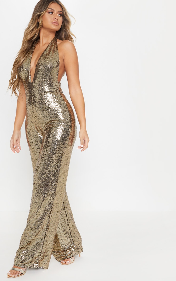 Gold Sequin Halterneck Jumpsuit 4