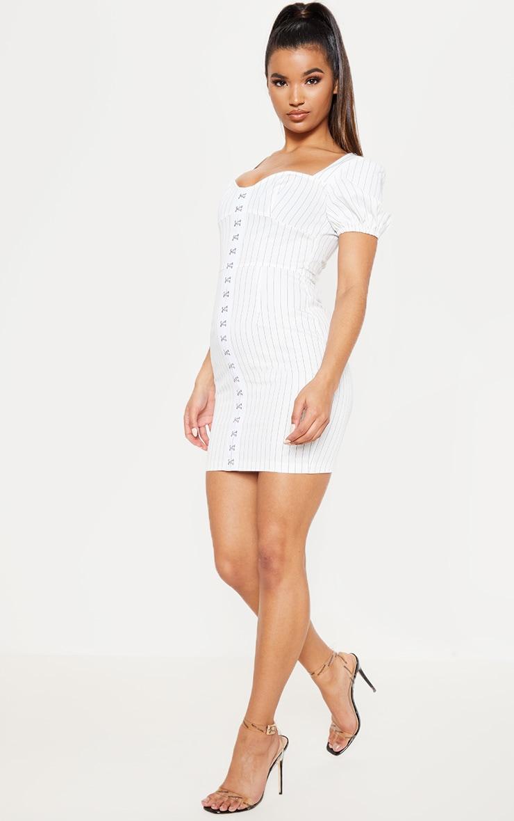 White Pinstripe Puff Sleeve Bodycon Dress 5