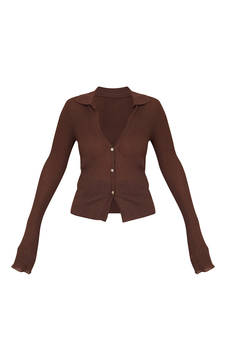 Chocolate Sheer Knit Button Up Collared Cardigan 5