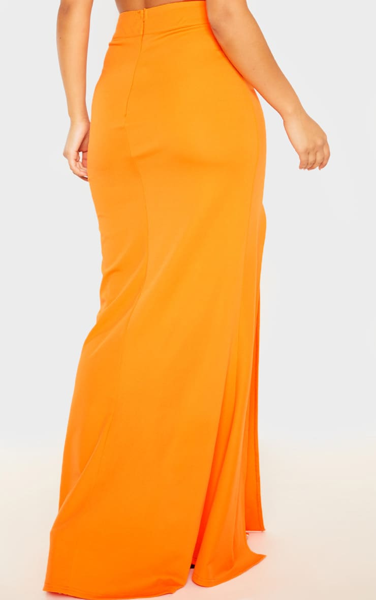 Orange Thigh Split Maxi Skirt 4