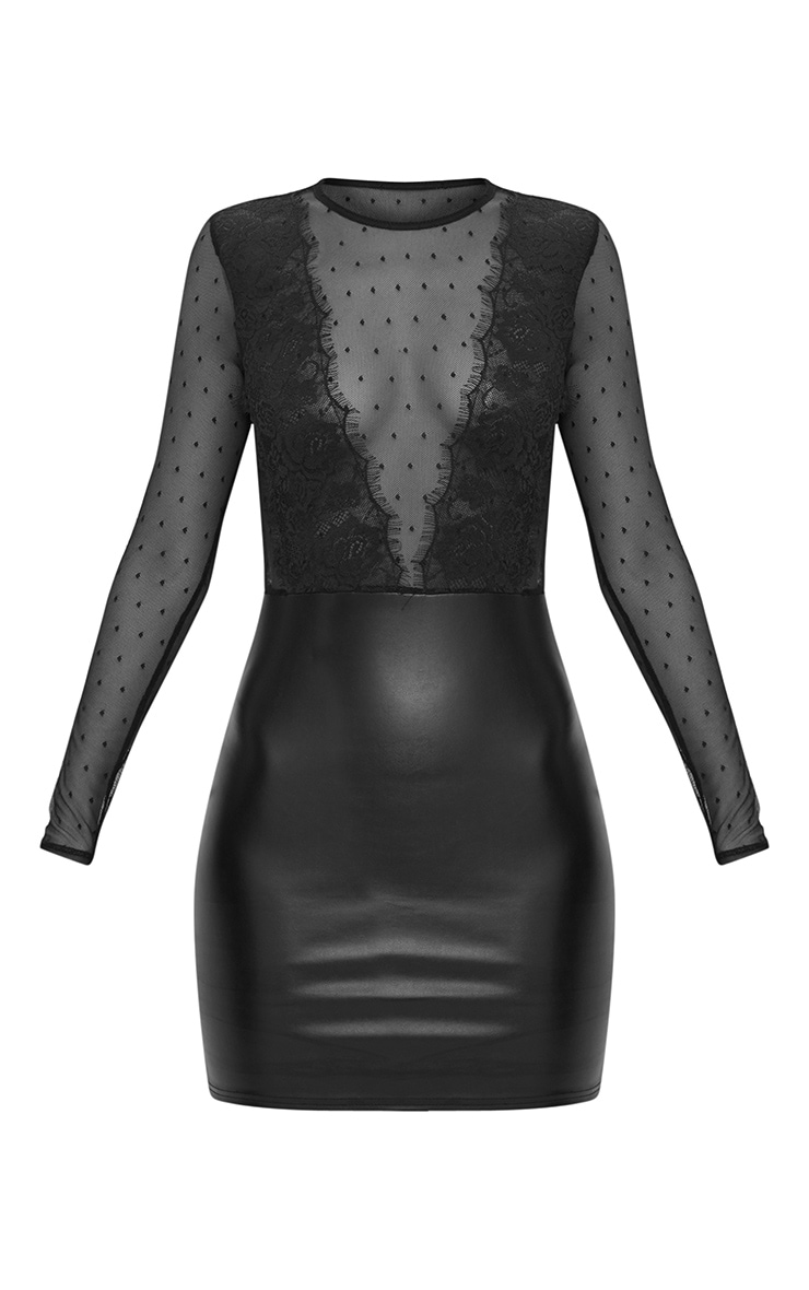 Black Lace Top Long Sleeve PU Bodycon Dress  3