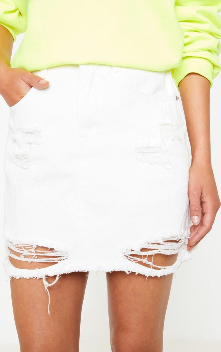 White Distressed Midi Skirt  6
