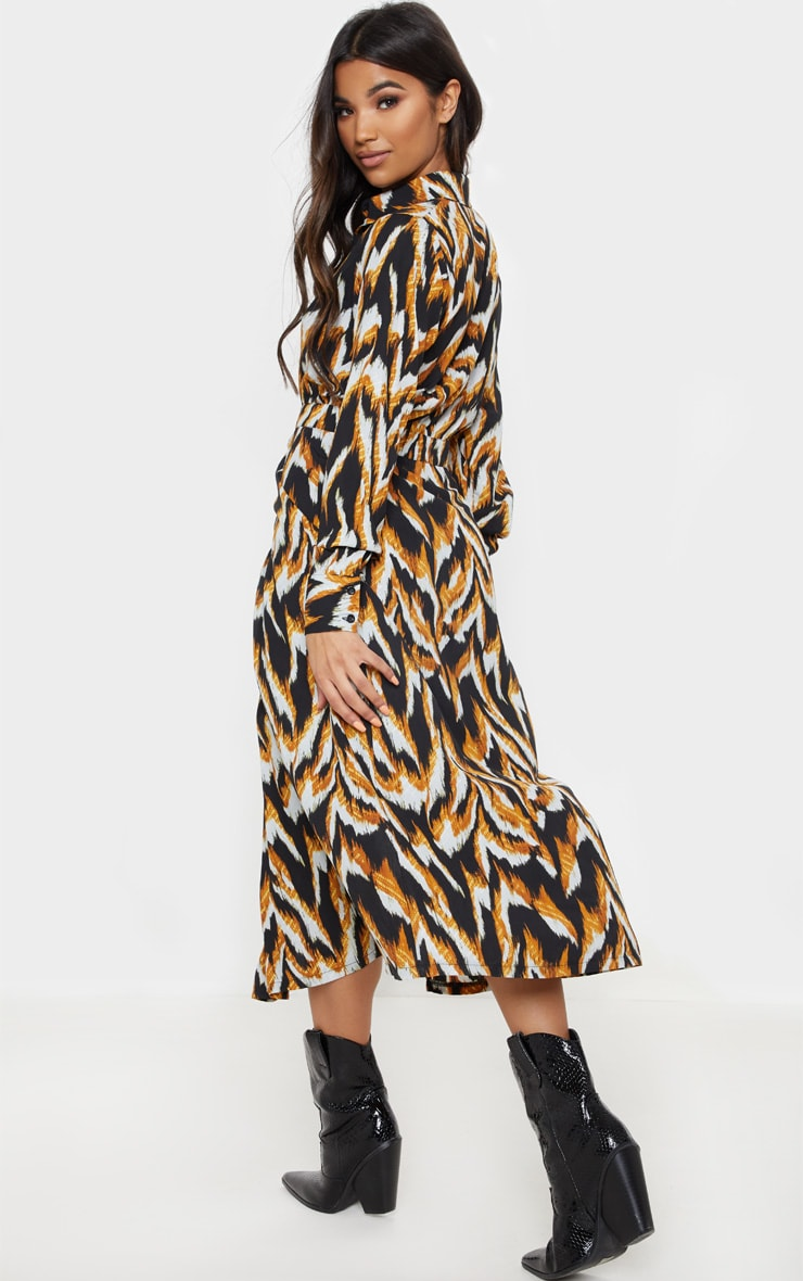 Black Tiger Print Long Sleeve Midi Shirt Dress 2