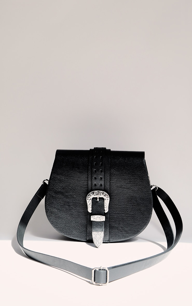 Black Western Buckle Saddle Cross Body Bag 1