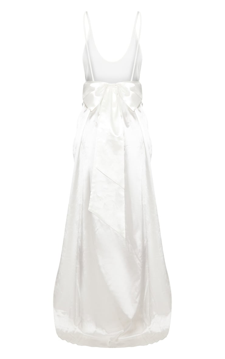 Petite White Bridal Satin Bow Back Swimsuit 4