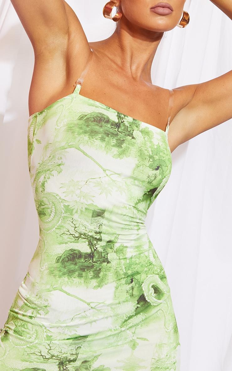 Lime Print Slinky Clear Strap Bodycon Dress 4