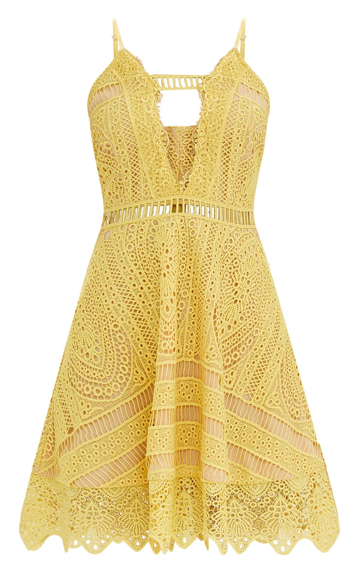 Yellow Crochet Lace Plunge Strappy Skater Dress 3