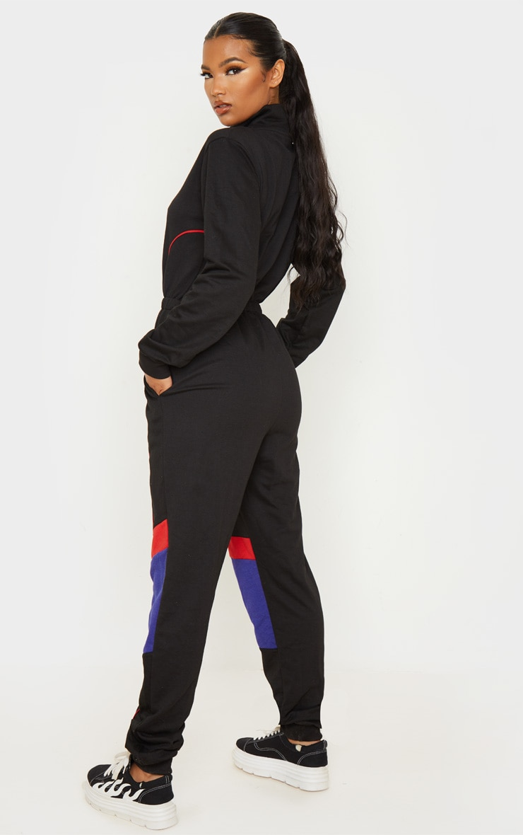 Black Zip Detail Colour Block Sweat Jumpsuit 2
