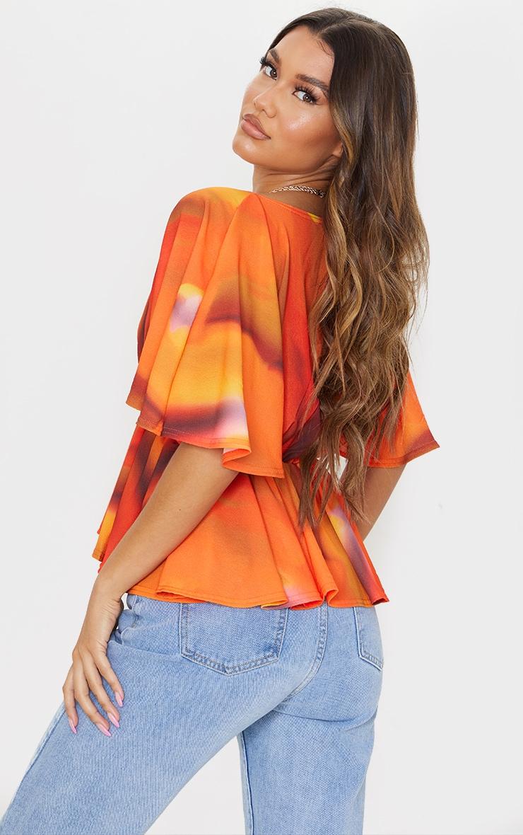 Orange Abstract Stripe Frill Blouse 2