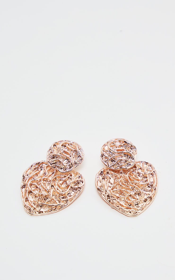 Rose Gold Swirl Textured Heart Shaped Earrings  2
