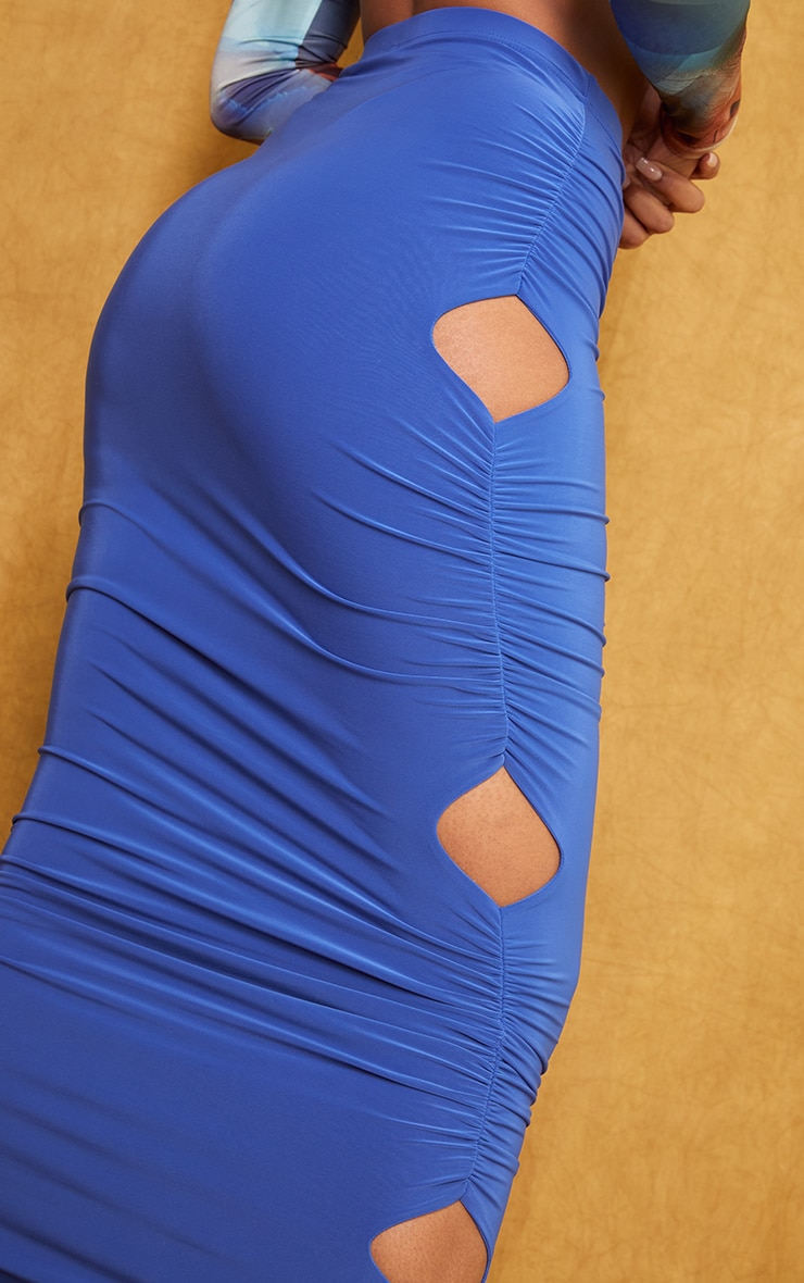 Bright Blue Slinky Cut Out Maxi Skirt 4
