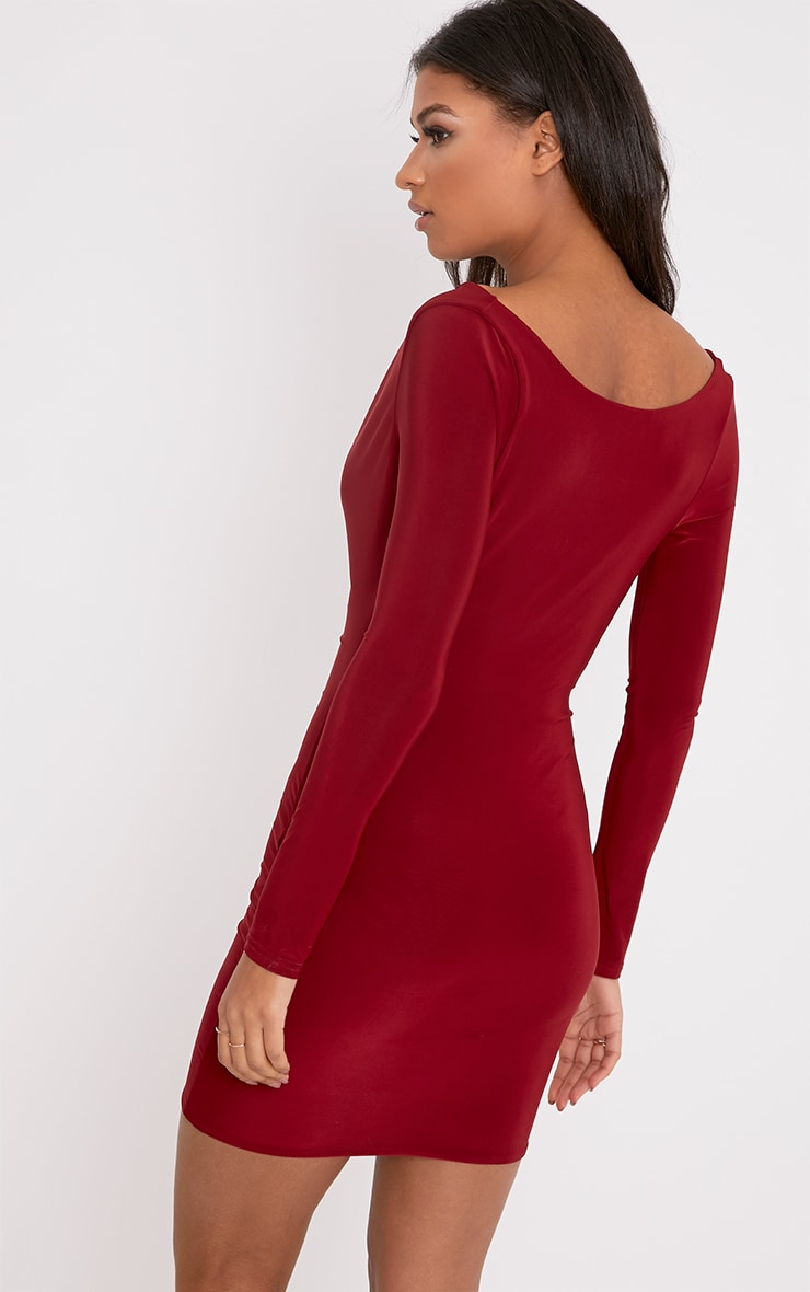 Celestia Burgundy Cowl Neck Bodycon Dress 2