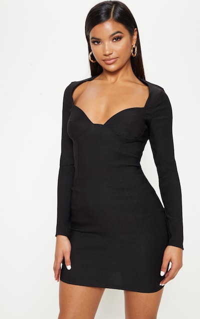 ac12438668a Black Woven Long Sleeve Cup Detail Bodycon Dress