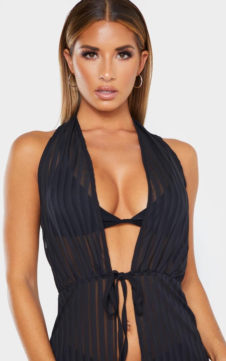 Black Sheer Stripe Halterneck Maxi Beach Dress 4