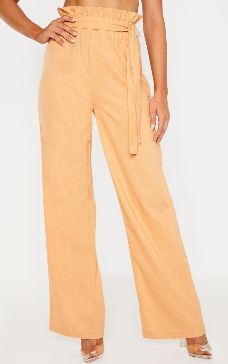 Peach Paperbag Waist Flare Linen Mix Pants 2