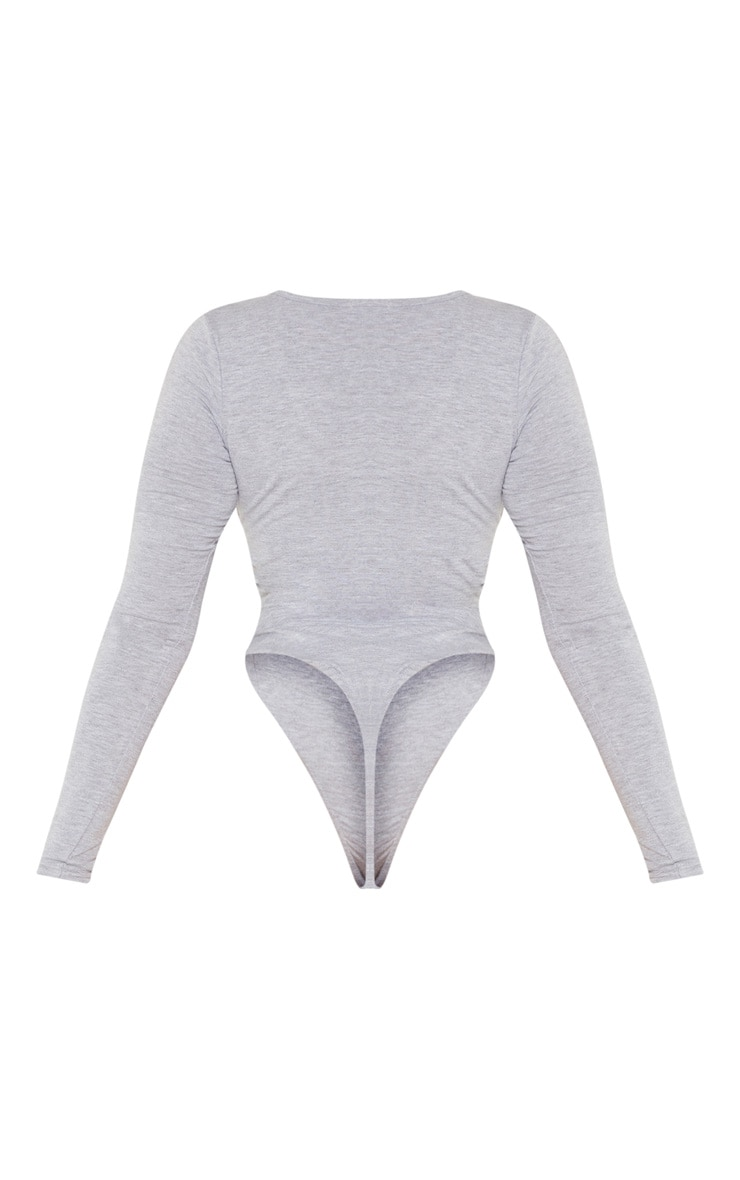 Shape Grey Marl Jersey V Neck Long Sleeve Bodysuit  4
