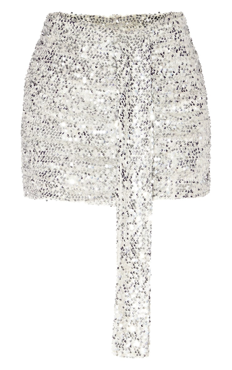 Silver Sequin Ruched Mini Skirt 3