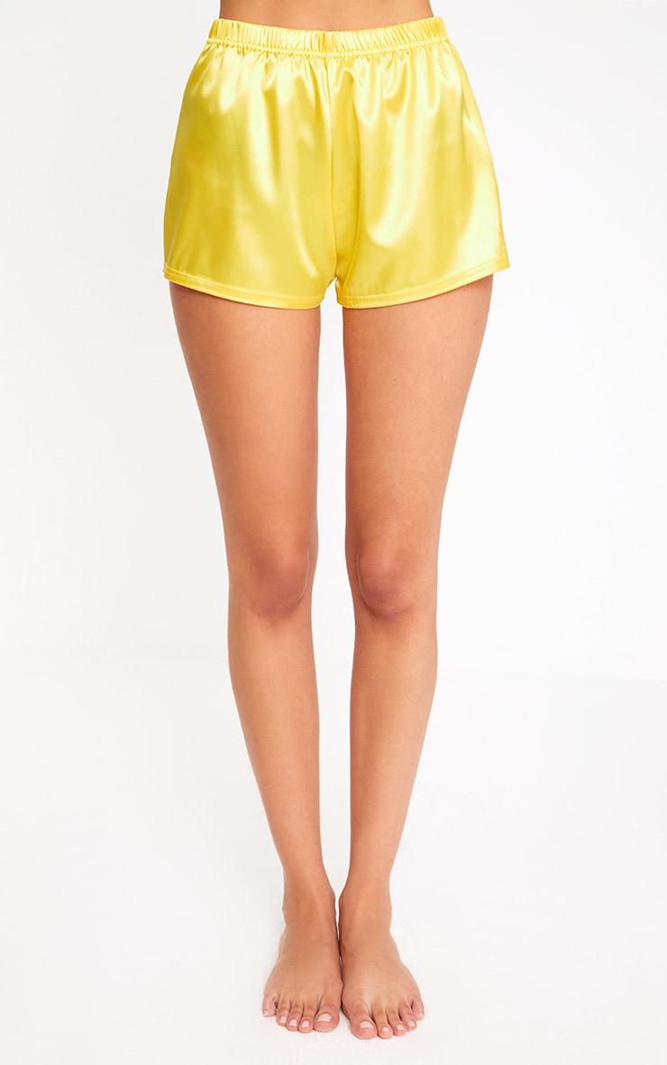 Yellow Satin Pyjama Shorts Set 6
